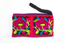 Black Hmong Coin Pouch Hill Tribe Ethnic Embroidered Purse Thai Bohemian Bag