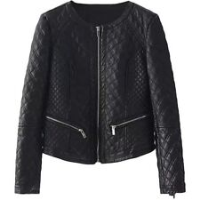 H & M Black Vegan Leather Quilted Jacket Size 6 $33.00