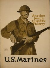 U S Marines Recruiting Poster 1917 5.5x4 inch Repro Chateau Thierry World War 1