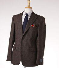 NWT $1695 BELVEST Brown Woven Donegal Tweed Wool Sport Coat 46 R (Eu 56)