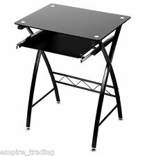 HOME OFFICE  BLACK GLASS COMPUTER DESK WORK TABLE SLIDE OUT KEYBOARD STAND CT601