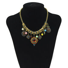 New Fashion Women Retro Boho Pendant Chain Resin Chunky Statement Bib Necklace