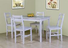 Sandra White Pine Wooden Dining Table and 4 High Back Chair Set