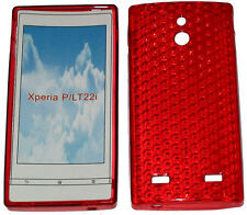 For Sony Xperia P LT22i LT22 Pattern Soft Gel Case Protector Cover Red New UK