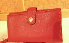 AUTH COACH $95 NEW wTAG.BOX.RECEIPT RED LEATHER iPHONE 5.6.7 WALLET WRISTLET BAG