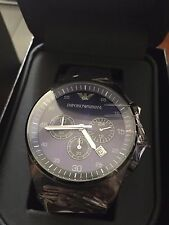 100% NEW Emporio Armani AR5921 Blue Dial Chronograph Sportivo Quartz Men's Watch