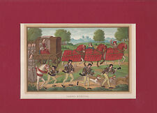 """VINTAGE CHROMOLITHOGRAPH- MIDDLE AGES SCENE. """"LADIES HUNTING"""""""