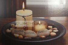 Votivo De Cristal Conjunto de sostenedor de vela con bandeja de madera Stone & Rock &