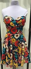 Ixia Elegant Retro Multi-Colored Floral Print Strapless Dress With Pockets