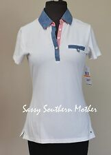 Tommy Hilfiger Short Sleeve Chambray Trim Polo Top Shirt Small, S, $49.50