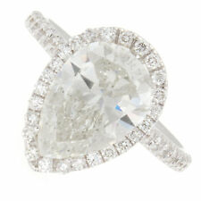 3.54ct Pear Shape Halo Pavé Diamond Engagement Ring Certified