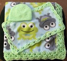 Crochet Trim Baby Blanket-Frog print w/ burp cloth and cap