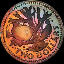 1974 Barbados $2 Staghorn Coral Fish BU Proof Monster Rainbow Color Toned