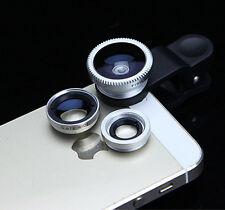 3in1 Fish Eye + Wide Angle Micro Lens Camera Kit for Phone Silver Color New t