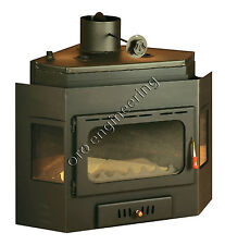 Wood Burning Inset insert Built In Multifuel Fireplace back Boiler Prity 21 kw.