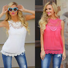 New Summer Womens Ladies Loose Casual Chiffon Sleeveless Lace Shirt Tops Blouse