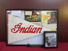 Vintage 1920's-50's Lot of Indian Motorcycle Memorabilia Rare Pennant Spark Plug