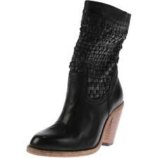 New AUSTRALIA LUXE Wynn Black Woven Leather Western Cowboy Ankle Boots Bootie 7