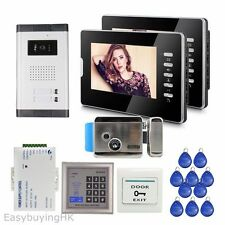 "7"" Video Door Phone Intercom System for 2 Apartments+ Electric Lock+RFID Control"