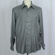 Ike Behar Silk Blend Solid Gray Long-Sleeve Button-Front Men Shirt Sz L EUC