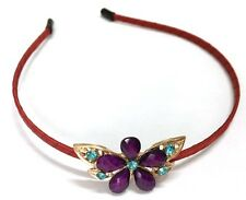 Purple Gold Flower Blue Crystals Headband Red Satin Covered Hair Band UK Shop