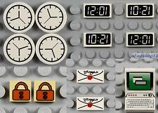 LEGO - 14x Tile Combo - Computer Keyboard Monitor Clock Envelope Utensil Minifig