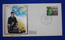 """Canada (654) 1974 Guglilmo Marconi Colorano """"Silk"""" FDC"""