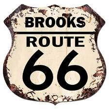 BPHR0077 BROOKS ROUTE 66 Shield Rustic Chic Sign  MAN CAVE Funny Decor Gift