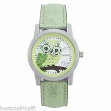 SPROUT GREEN,VIOLET COTTON BAND+GRAY RESIN DIAL+MOP OWL WHIMSICAL WATCH ST/5512