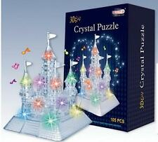 3D CASTLE JIGSAW PUZZLE CRYSTAL FLASHING LIGHT UP LED MUSICAL 105 PIECES MODEL