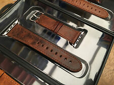 Qualità vintage caffè Leather Watch Strap Band per Apple WATCH SERIES 2 42mm