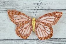 Large Real Feather Butterflies Thin Bendable Wire 4.5 inc 11cm Cakes Crafts x 12