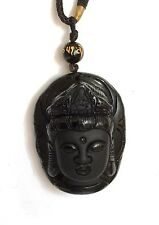 REIKI ENERGY CHARGED CRYSTAL STONE LARGE BLACK OBSIDIAN  BUDDHA PENDANT GIFT