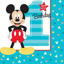 MICKEY MOUSE Fun to Be One SMALL NAPKINS (16) ~ 1st Birthday Party Supplies Cake