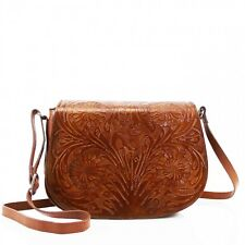 Women Real Leather Floral Embossed Classic Ladies Shoulder Bag Handbag