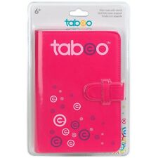 New Pink Tabeo Folio Case and Stand Fits Most Standard Size Tablets Faux Leather