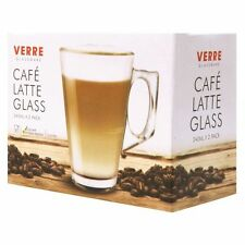 4 x 240ml LATTE GLASSES CUPS MUGS FOR COFFEE HOT TEA CAPPUCCINO IRISH COFFEE