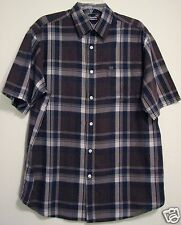 Nautica Jeans Brown Blue Plaid M Button Short Sleeve Pocket Camp Mens Shirt