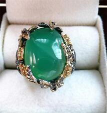 LARGE GREEN ONYX & SAPPHIRE 925 STERLING SILVER GOLD RHODIUM RING SZ  P US 8