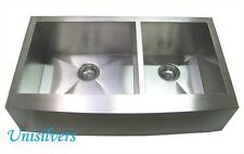 """36"""" Farm APRON Kitchen Stainless Steel Sink CURVE Front"""