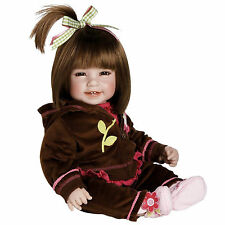 "Adora 20"" BABY PLAY DOLL WORKOUT CHIC Brown Hair Velour Hot Pink Flower Shoe NEW"