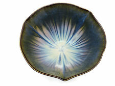 Large Art Pottery Bowl - Blue Drip Glaze, Floriform, Artist Signed
