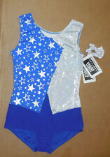 NWT Gymnastic Leotard Royal Silver Stars Foil Extra Large Child Silver Scrunche