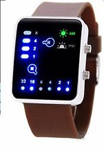 Led Binary Digital Watch Mens Fashion Casual Sport Wrist Watches Brown UK SELLER