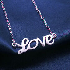 Korean Womens Girls Chain Love Pendant Necklace Jewellery White Gold plated