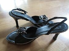 Marco Tozzi Black Leather Heels Strap Sandals Shoes Size 39