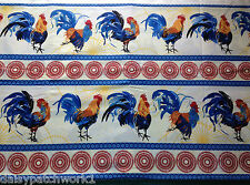 Rooster & Hen Cotton Fabric Metre Red Blue Stripe Chicken Cockerel Wilmington 1m