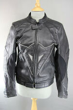 BLACK LEATHER BIKER JACKET WITH REMOVABLE SHOULDER & ELBOW ARMOUR 34 INCH