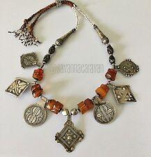 Morocco Berber Yemen Amber Coral Silver Niello Pendant Necklace