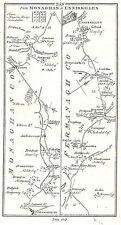 Carte antique, les routes de Monaghan à Enniskillen, Dundalk à Kells
